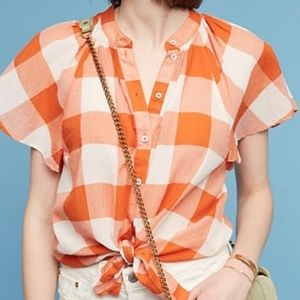 Anthropologie Maeve Orange Gingham Checkered Top